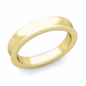 Contour Wedding Band in 18k Gold Comfort Fit Ring, 4mm