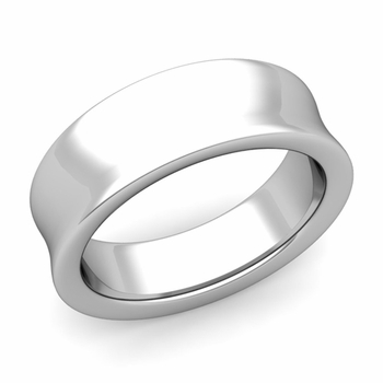 Contour Wedding Band in 14k Gold Comfort Fit Ring, 7mm