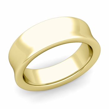 Contour Wedding Band in 18k Gold Comfort Fit Ring, 7mm