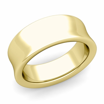 Contour Wedding Band in 18k Gold Comfort Fit Ring, 8mm