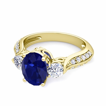 Vintage Inspired Diamond and Blue Sapphire Three Stone Ring in 18k Gold, 9x7mm