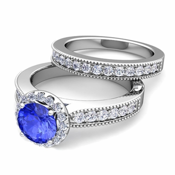Halo Bridal Set: Milgrain Diamond and Ceylon Sapphire Wedding Ring Set in 14k Gold, 7mm