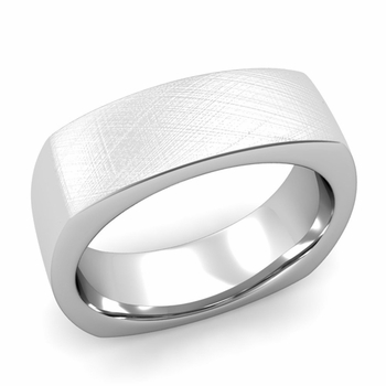 Square Comfort Fit Wedding Ring in Platinum Mixed Brushed Band, 7mm