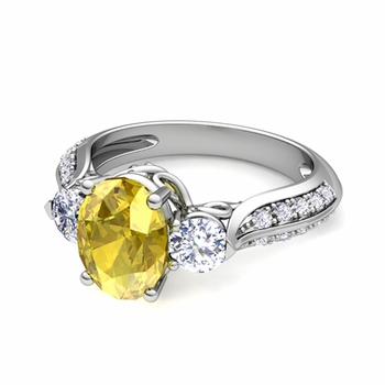 Vintage Inspired Diamond and Yellow Sapphire Three Stone Ring in Platinum, 8x6mm