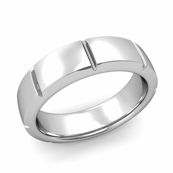 Swiss Cut Wedding Band in Platinum Polished Finish Ring, 6mm