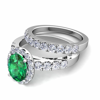 Halo Bridal Set: Pave Diamond and Emerald Wedding Ring Set in 14k Gold, 7x5mm