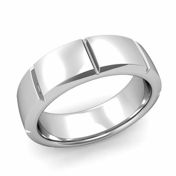 Swiss Cut Wedding Band in Platinum Polished Finish Ring, 7mm