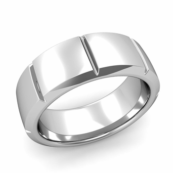 Swiss Cut Wedding Band in Platinum Polished Finish Ring, 8mm