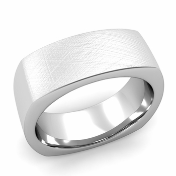 Square Comfort Fit Wedding Ring in Platinum Mixed Brushed Band, 8mm