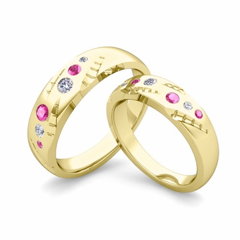Matching Wedding Ring Set: Flush Set Diamond and Pink Sapphire Ring in 18k Gold