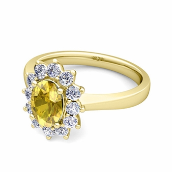 Brilliant Diamond and Yellow Sapphire Diana Engagement Ring in 18k Gold, 9x7mm