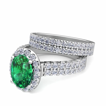 Two Row Diamond and Emerald Engagement Ring Bridal Set in Platinum, 7x5mm