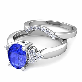 Three Stone Diamond and Ceylon Sapphire Engagement Ring Bridal Set in Platinum, 7x5mm