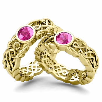 Matching Wedding Band in 18k Gold Solitaire Pink Sapphire Ring