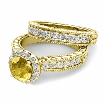 Vintage Inspired Diamond and Yellow Sapphire Engagement Ring Bridal Set in 18k Gold, 7mm