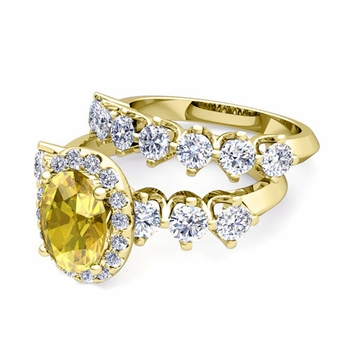 Bridal Set of Crown Set Diamond and Yellow Sapphire Engagement Wedding Ring in 18k Gold, 7x5mm