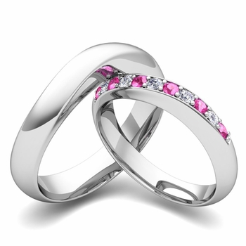 Matching Wedding Band in Platinum Curved Diamond and Pink Sapphire Ring