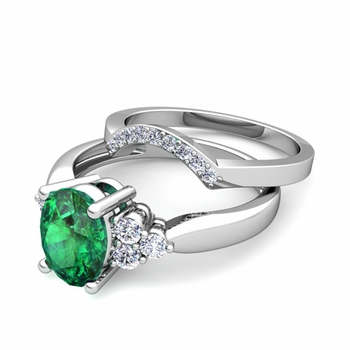Three Stone Diamond and Emerald Engagement Ring Bridal Set in 14k Gold, 7x5mm