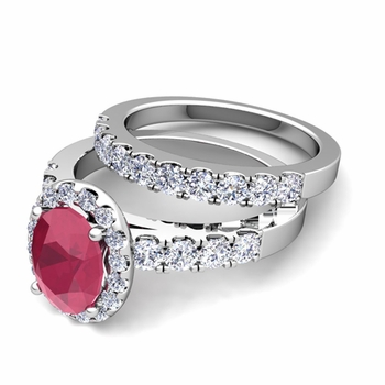 Halo Bridal Set: Pave Diamond and Ruby Wedding Ring Set in 14k Gold, 7x5mm
