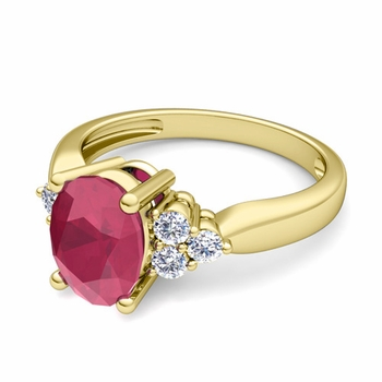 Three Stone Diamond and Ruby Engagement Ring in 18k Gold, 7x5mm