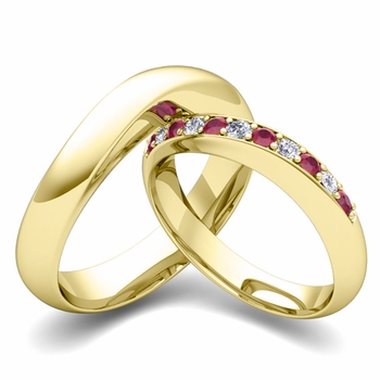 Matching Wedding Band in 18k Gold Curved Diamond and Ruby Ring