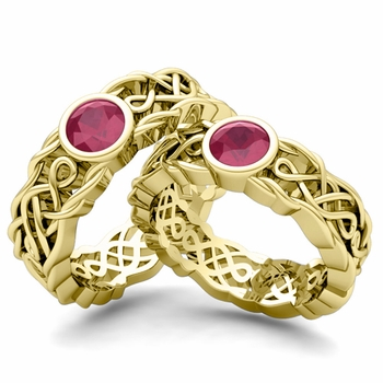 Matching Wedding Band in 18k Gold Solitaire Ruby Ring
