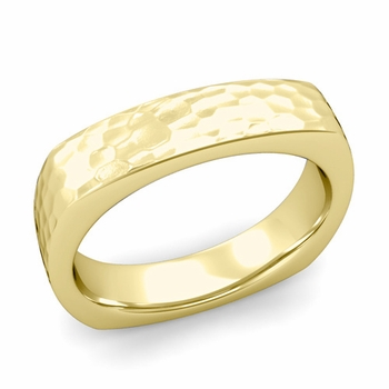 Square Comfort Fit Wedding Ring in 18K Gold Matte Hammered Band, 5mm