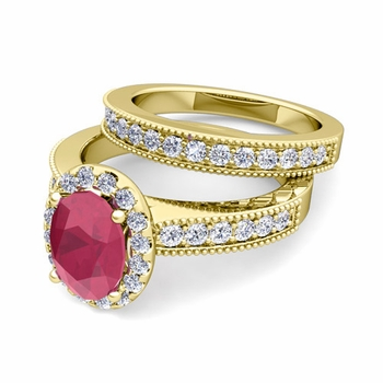 Halo Bridal Set: Milgrain Diamond and Ruby Engagement Wedding Ring Set in 18k Gold, 9x7mm