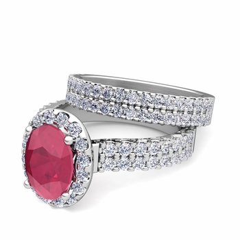 Two Row Diamond and Ruby Engagement Ring Bridal Set in Platinum, 7x5mm