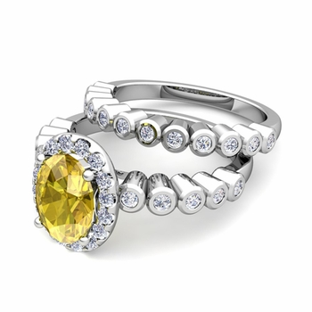 Halo Bridal Set: Bezel Diamond and Yellow Sapphire Wedding Ring Set in Platinum, 7x5mm