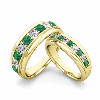 Matching Wedding Band in 18k Gold Brilliant Diamond and Emerald Wedding Rings