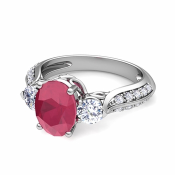Vintage Inspired Diamond and Ruby Three Stone Ring in Platinum, 9x7mm