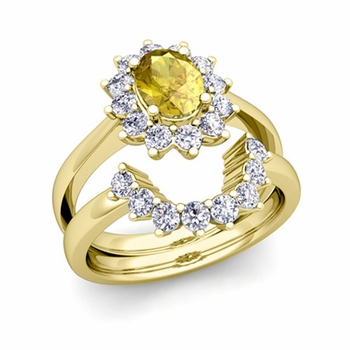 Diamond and Yellow Sapphire Diana Engagement Ring Bridal Set in 18k Gold, 9x7mm