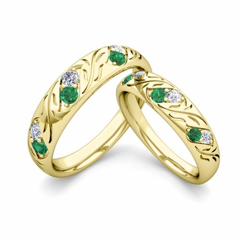 His and Hers Matching Wedding Band in 18k Gold: Diamond and Emerald