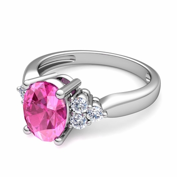 Three Stone Diamond and Pink Sapphire Engagement Ring in 14k Gold, 7x5mm