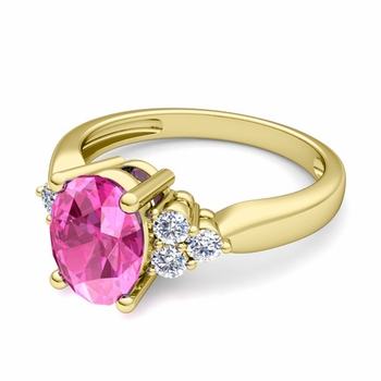 Three Stone Diamond and Pink Sapphire Engagement Ring in 18k Gold, 7x5mm