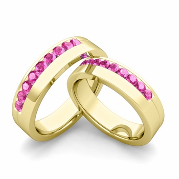 Matching Wedding Bands: Channel Set Pink Sapphire Wedding Rings in 18k Gold