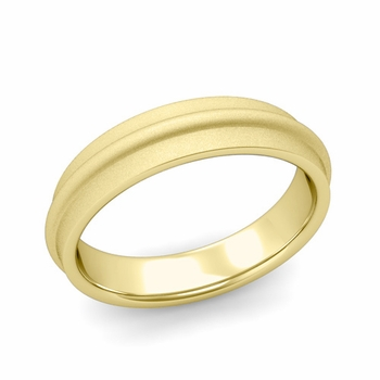 Ridged Wedding Band in 18k Gold Satin Finish Comfort Fit Band, 5mm