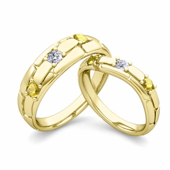 Matching Wedding Band: His and Hers Diamond Yellow Sapphire Ring in 18k Gold