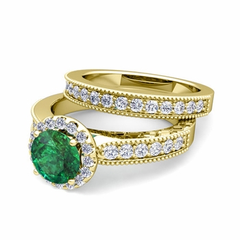 Halo Bridal Set: Milgrain Diamond and Emerald Engagement Wedding Ring Set in 18k Gold, 7mm