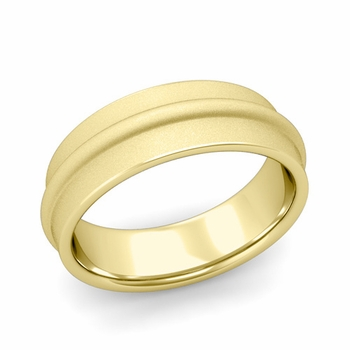Ridged Wedding Band in 18k Gold Satin Finish Comfort Fit Band, 7mm