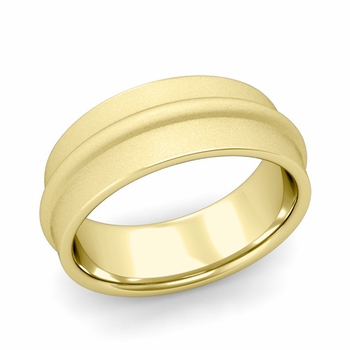 Ridged Wedding Band in 18k Gold Satin Finish Comfort Fit Band, 8mm