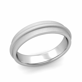 Ridged Wedding Band in Platinum Satin Finish Comfort Fit Band, 5mm