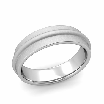 Ridged Wedding Band in Platinum Satin Finish Comfort Fit Band, 6mm