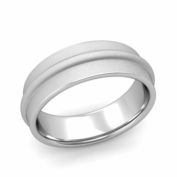 Ridged Wedding Band in Platinum Satin Finish Comfort Fit Band, 7mm