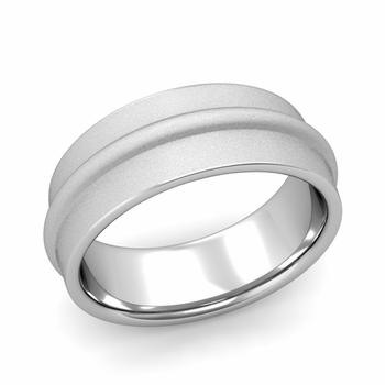 Ridged Wedding Band in Platinum Satin Finish Comfort Fit Band, 8mm