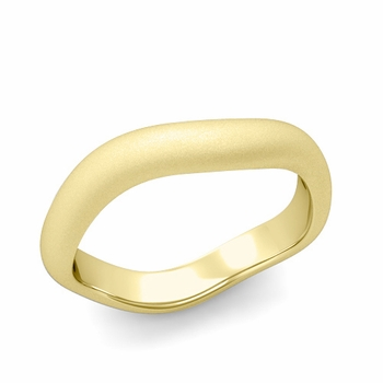 Curved Satin Finish Wedding Ring in 18k Gold Comfort Fit Band, 4mm