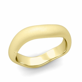Curved Satin Finish Wedding Ring in 18k Gold Comfort Fit Band, 5mm