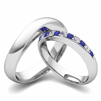Matching Wedding Band in 14k Gold Curved Diamond and Sapphire Ring