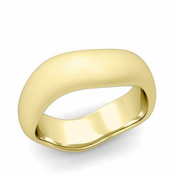 Curved Satin Finish Wedding Ring in 18k Gold Comfort Fit Band, 7mm